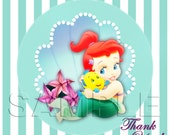 Disney Baby Princess Ariel - The Little Mermaid Favor Tags - INSTANT DOWNLOAD - Favor Tags