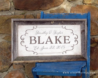 Personalized Burlap Family Name Sign, Family Established Burlap Sign With Barnwood Frame, Personalized Burlap Wedding  Or Anniversary Gift