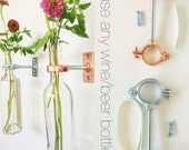HARDWARE ONLY - 6 Wine Bottle Wall Flower Vase Kits - copper, silver or iron hardware - DIY - hostess gift
