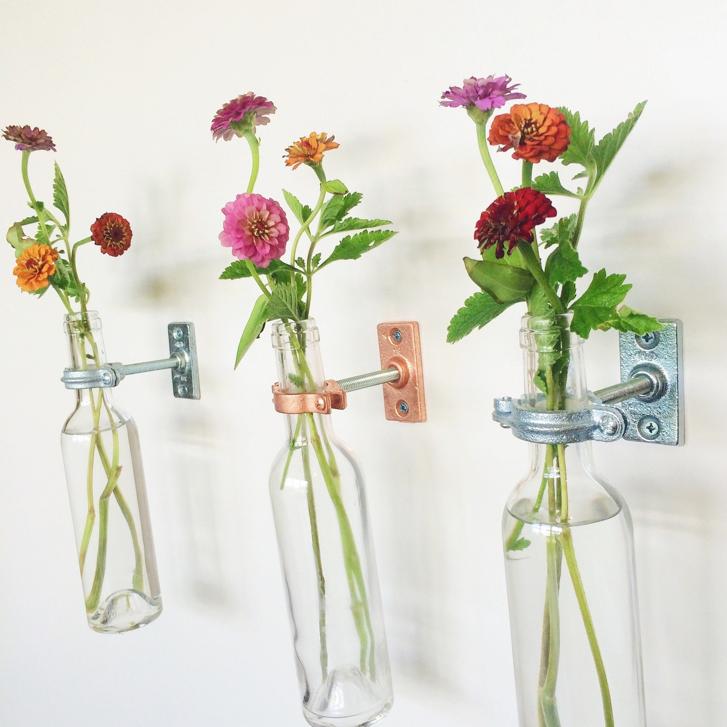 3 wine bottle wall flower vases gift for mom wall flower zoom amipublicfo Image collections