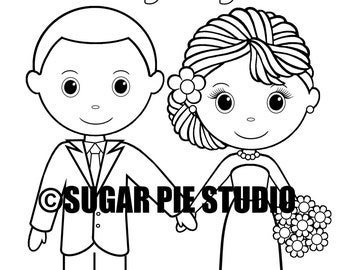 INSTANT DOWNLOAD 8.5x11 Printable Wedding coloring activity book Favor Kids PDF file