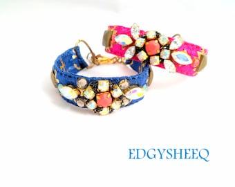 Blue Anchor Bracelet, Crystal Collage bracelet, Statement Bracelet, Rhinestone Fabric Cuff, Boho Jewel Bracelet,Hand-Sewn Custom Bracelet
