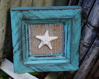 Starfish - Framed - Wall Hanging - Beachy - Seaside Decor - Blue - Handpainted Frame