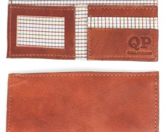 Handmade Walnut Leather Men's Bifold Wallet, Grid Liner