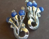 Vintage Rhinestone Silver Tone Clip Back Earrings with Blue Lucite Beads  1950s Retro Jewelry