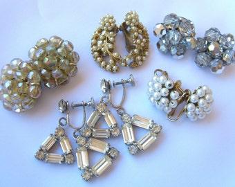 Vintage Rhinestone Earrings. Five Pairs, Hobe, W Germany, 1950s Jewelry Lot