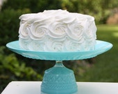 Cake Stand / Cupcake Stand Turquoise / Aqua Blue Shabby Chic vintage Reclaimed Serving Platter