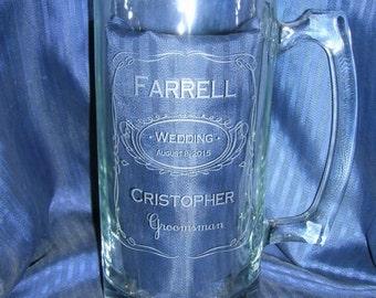 Etched glass mug, groomsman mug, beer mug, wedding glass, anniversary glass, custom glass mug, personalized glass mug
