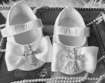Baby Satin crib shoes,white christening baby soft sole shoes with cross accent rhinestones.