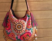 Hippie Colorful Fringe Tote Bag /// Gypsy // embroidery // tribal // colorful // Ethnic // hippie // hippy // flower