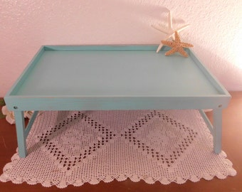 Blue Green Serving Tray Mint Sea Beach Cottage Coastal Seaside Tropical Island Shabby Chic Wood Home Decor Wedding Birthday Gift Her
