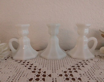 Vintage White Milk Glass Wedding Unity Candle Holder Set Beautiful Candlestick Collection Beach Cottage Coastal Seaside Home Decor Gift Her
