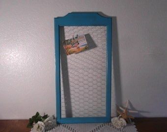 Rustic Aqua Turquoise Teal Blue Shabby Chic Chicken Wire Memo Board Photo Picture Display Beach Cottage Country Farmhouse Home Decor Wedding