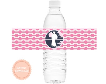 INSTANT DOWNLOAD Girls Star Wars Water Bottle Wraps (Leia, Darth Vader, R2D2, C3PO, Party Tag, Pink Star Wars Water Wraps)