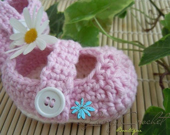Baby booties crochet Mary Jane misty rose- almond 100% cotton, Made-To-Order-newborn, 0-6 months choose color and size