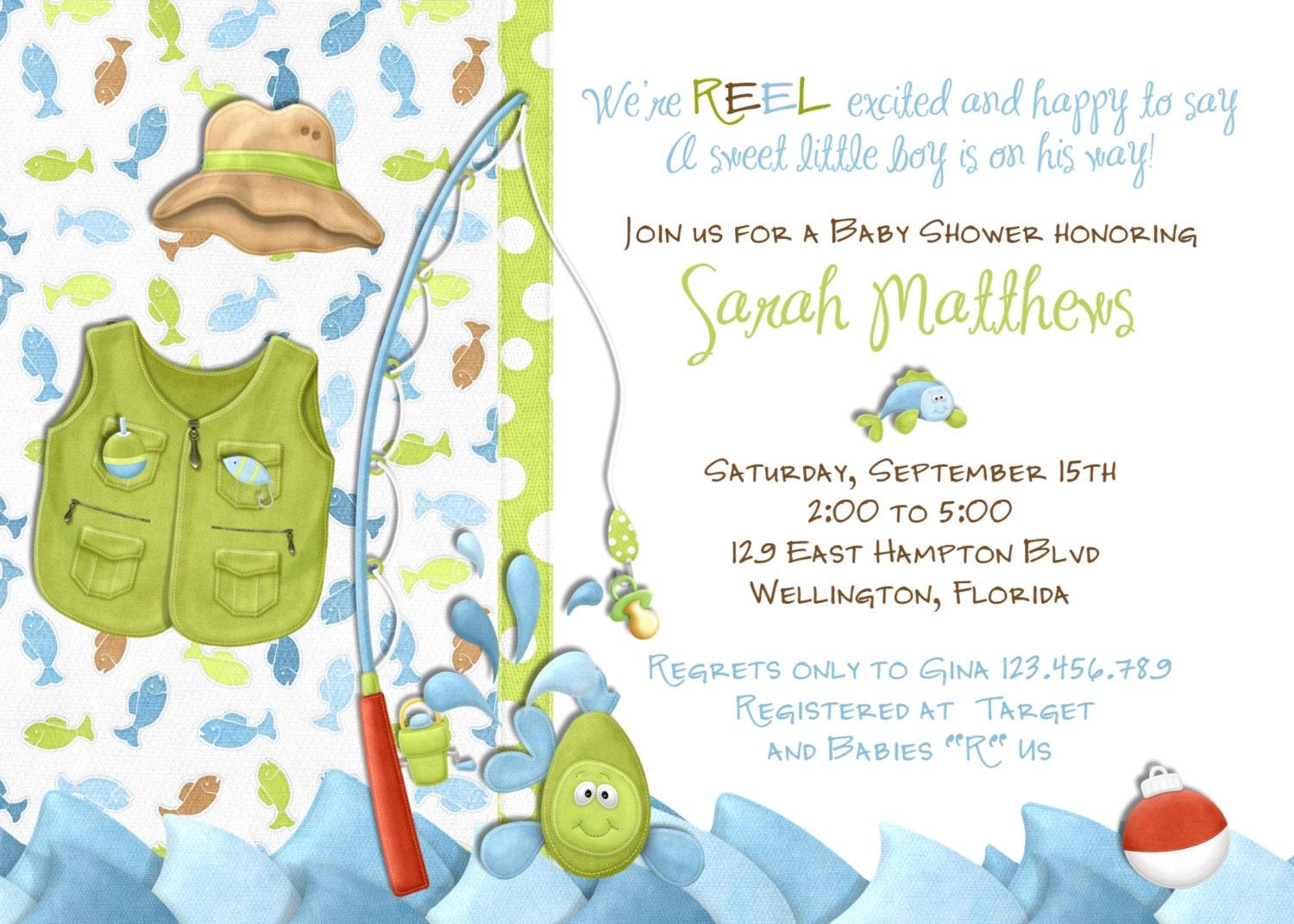 Fishing boy baby shower invitation little fisherman fish for Fishing baby shower