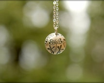 Dragonfly Domed Disc Necklace in Sterling Silver