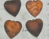 Vintage Distressed Heart Stampings, Copper Plated -FOUR- Jewelry Supplies by CalliopesAttic