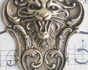 Fierce Tiger Brass Stamping, Brass ox - Supplies by CalliopesAttic