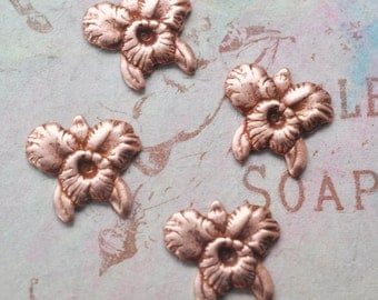 FOUR Orchid Brass Stampings, Rose Ox
