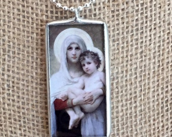 Silver Soldered Pendant - Madonna of the Roses Vintage Fine Art Glass Charm Necklace