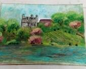 Landscape fiber art, Contemporary art quilt- mini art quilt, art quilt wallhanging, landscape contemporary art