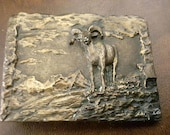 Mountain Sheep Buckle Bighorn,Hand Cast English Pewter,Never Worn,Carved by Paula Freed