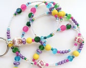 FLORAL SUMMER- Beaded ID Lanyard Badge Holder- Polymer Clay Beads, Lucite, Pearls, Czech Beads, Matte Beads, & Sparkling Crystals