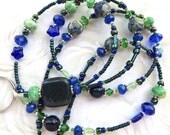 EARTHLY BEAUTY- Beaded ID Lanyard- Copper Blue Jasper, Lapis Lazuli, Turquoise, Ocean Jasper, Czech Pressed Glass Beads, Crystals (Magnetic)