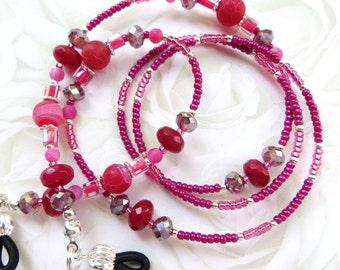 ELEGANT ROSE- Beaded Eyeglass Chain- Dragons Vein Agate Gemstones, Brazil Ruby Abacus Gemstones, and Sparkling Crystals