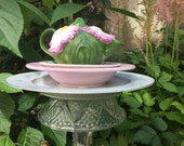 Teapot Totem, Purple Iris Tea Pot, Pink and Yellow Garden Totem, Tea Pot Totem, Garden Pedestal