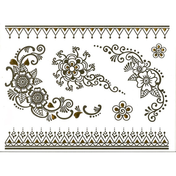 Mehndi Designs Arm Bands : Temporary henna tattoo with gold details mehndi tattoos