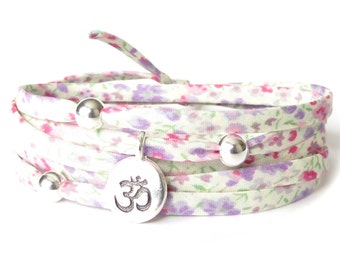 Yoga bracelet with Liberty fabric and Om charm, Yoga gift for best friend, wrap bracelet in spring pastels, jewellery gift for her