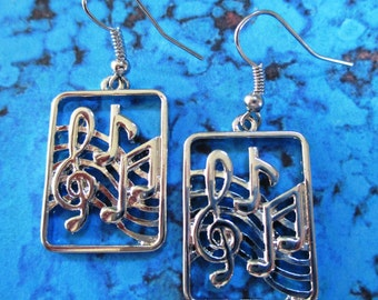 Musical Notes Silver Earrings