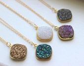Gold Druzy Necklace Natural Druzy Jewelry - Drusy Necklace Jewelry - Green Purple White Gold Gray Druzy Layering Necklace Statement Jewelry