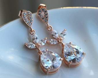 Rose Gold Crystal Earrings Teardrop Clear Jewelry - Rosegold Bridal Earrings - Rose gold Bridal Accessories Wedding Jewelry Bridesmaid Gift