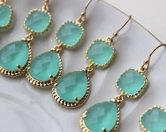 15% Off Set of 5 Wedding Jewelry Bridesmaid Earrings Bridal Bridesmaid Jewelry Mint Blue Earrings Aqua Seafoam Gold Teardrop