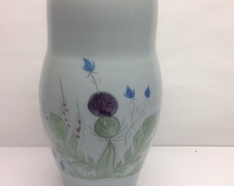 Buchan Thistleware Vase 8 inch Stoneware  Portobello Scotland Scottish Thistle Hand painted  blue, green and purple