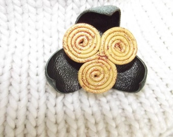 Leather flower brooch,leather flower hair pin,flower pin,flower hair pin,leather hair pin,leather flowers,gift,hair pin,leather brooch