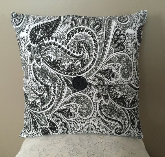 black and white paisley home decor accent pillow cover