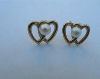 Gold Heart Stud Earrings with Pearl - Double Open Heart Earrings - Sweetheart Gift
