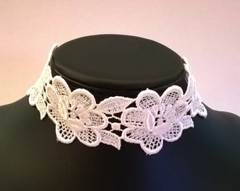 White Venise Lace Choker - Venice Lace Bridal Prom Party Wedding Bridesmaid Choker Necklace