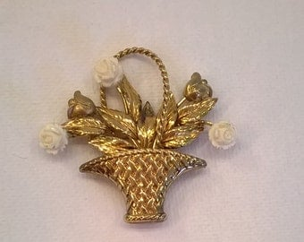 Vintage Carl Art Gold Filled Brooch - Basket of Flowers Brooch Pin
