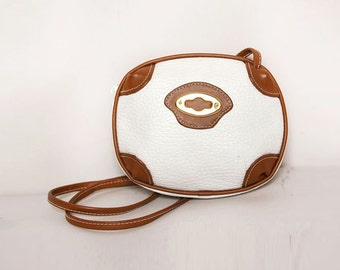 Vegan Leather White and Tan Cross Body Bag / Faux Leather Crossbody Purse