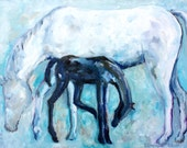 Horse painting original oil on canvas motherhood art MOTHER and BABY HORSE modern artwork by Elisaveta Sivas 23 x 31'