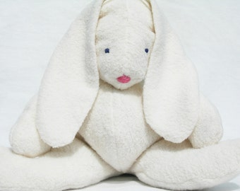 "Organic, Sustainable, Easter Bunny Rabbit, ""GOTS Certified Organic Cotton Sherpa"", Alpaca Stuffing"