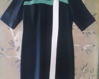 60s black mod style shift dress by Mendel Creations