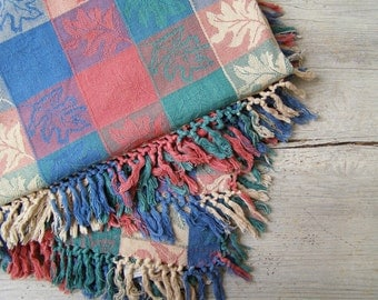 Rustic Fringed Tablecloth, Vintage colorful Square Cotton Table cloth, Farmhouse Country Leaf Red Green Blue Table Linen, Hippie Boho Fabric