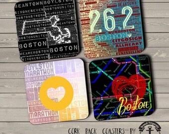Boston Coaster Set: Marathon Cape Cod 26.2 Boston T Map 617 Cork Back Home Accessories