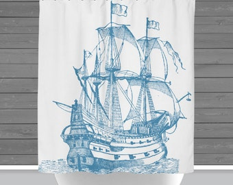 Blue Ship Shower Curtain: Sailing Ship Nautical Beach House Style   12 Eyelet/Button Hole   Size and Pricing via Dropdown